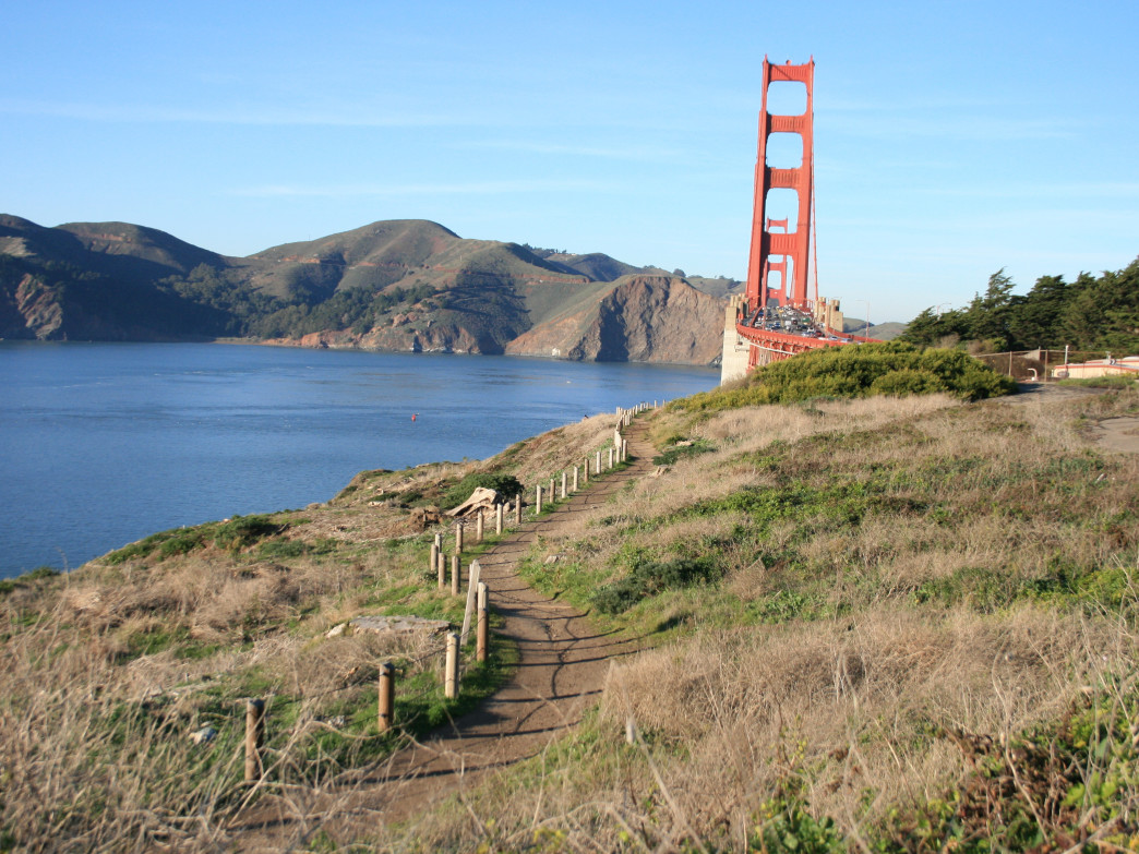 The Presidio offers 24 miles of trails, many of which have views of the Golden Gate Bridge and Pacific.