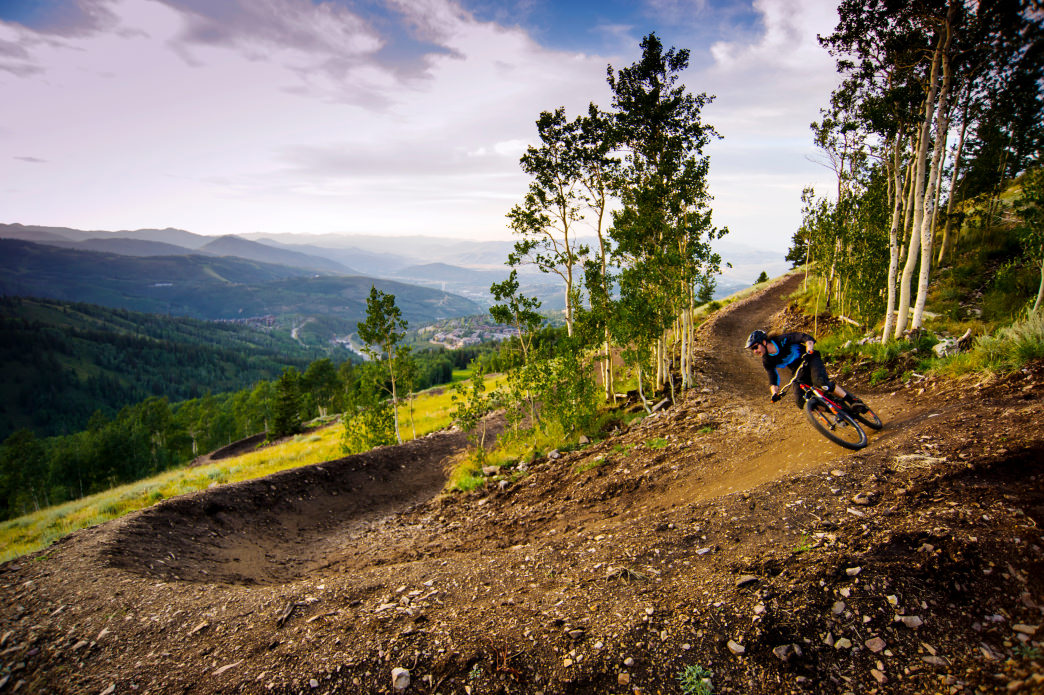 A biker descends one of Deer Valley's new flow trails.