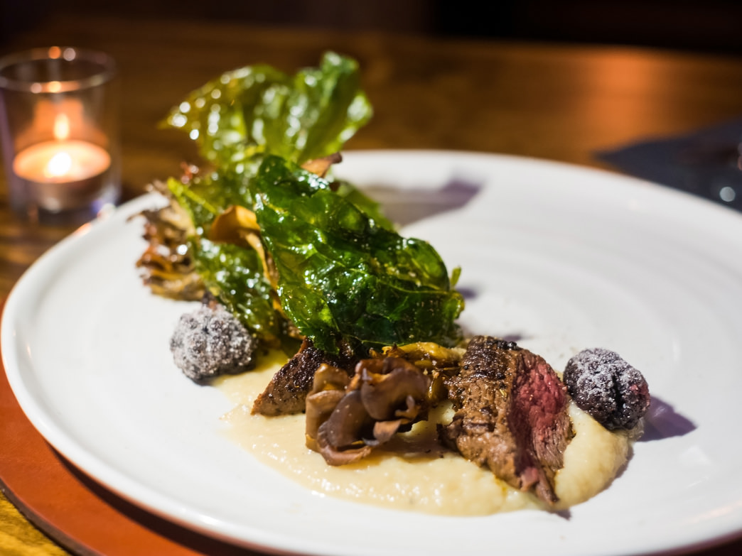 Elk Loin, Chinese Kale, Hen of the Woods, Salsify, Candied Blackberries at Lonesome Dove Western Bistro, Knoxville, Tennessee.
