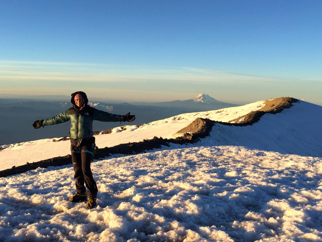 On top of Rainier: There's no better feeling than summiting a big mountain!