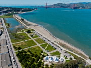 Birds eye view of the SF Bay Trail and Crissy Field