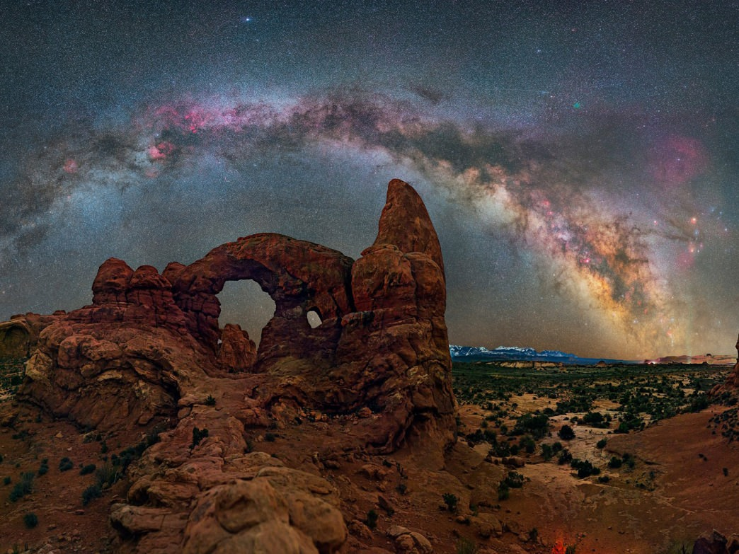 Turret Arch, Arches National Park, Utah. Technical Description: Canon 6D, 50mm at f/1.8, ISO 6400, 42 image panoramas in 2 parts, 30 sec exposures