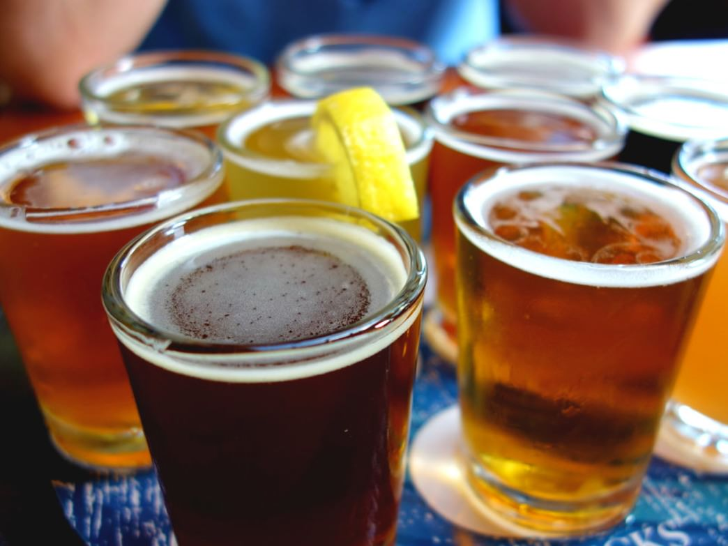 A sampler at Half Moon Bay Brewing lets you sample a variety of beers.