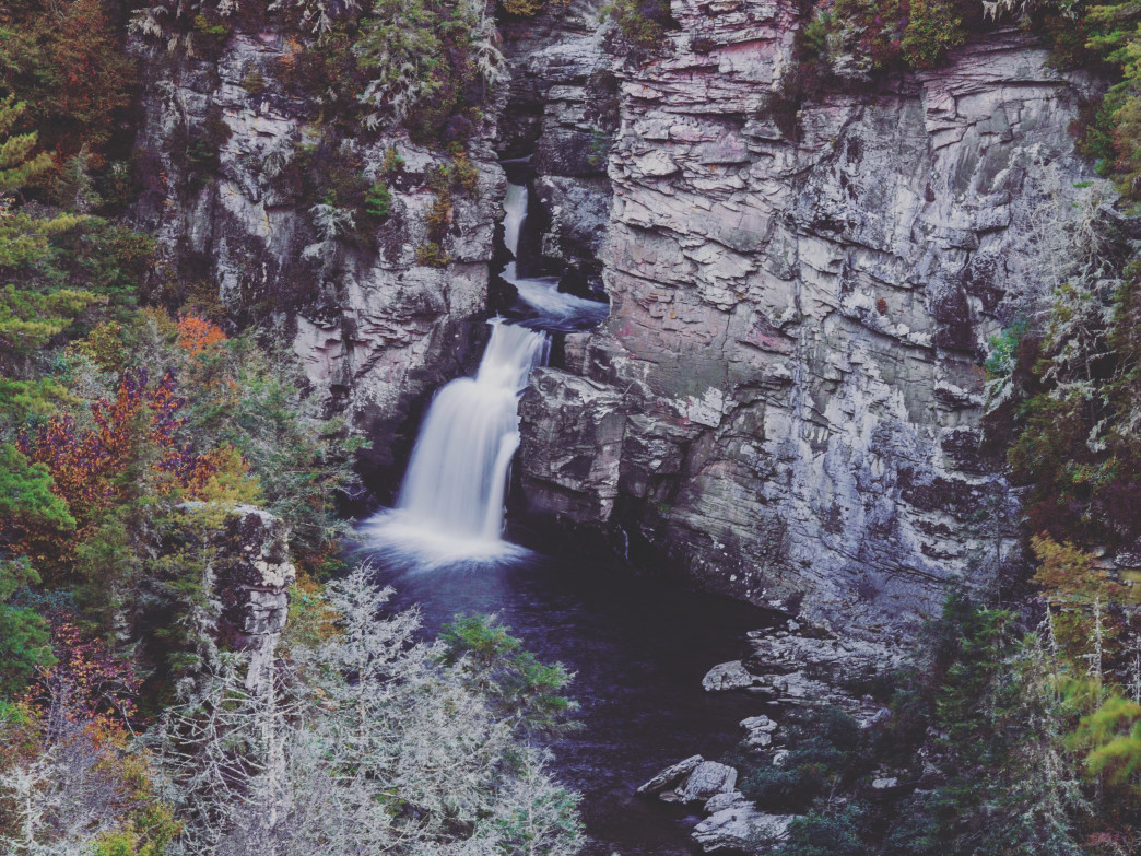 Upper and Lower Linville Falls are a powerful spectacle in every season, but particularly in the splendor of autumn and the stark monochrome of winter.