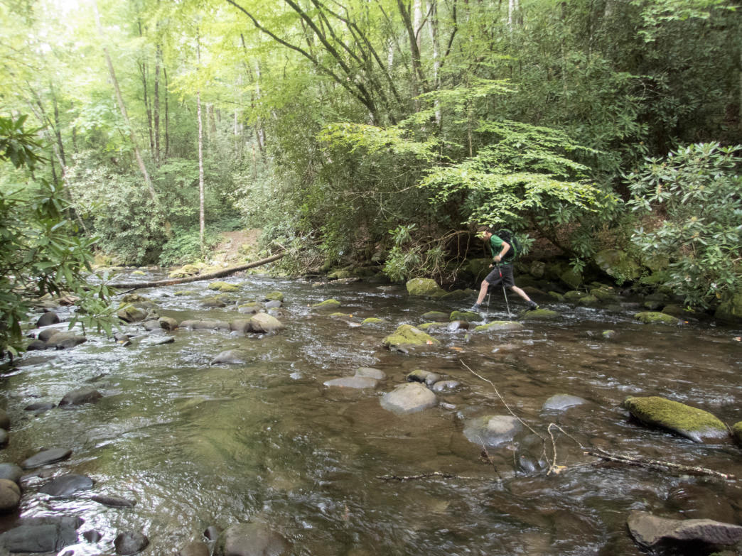 The Eagle Creek Trail features 20 creek crossings on the trek to Spence Field and the Appalachian Trail.     Clay Duda