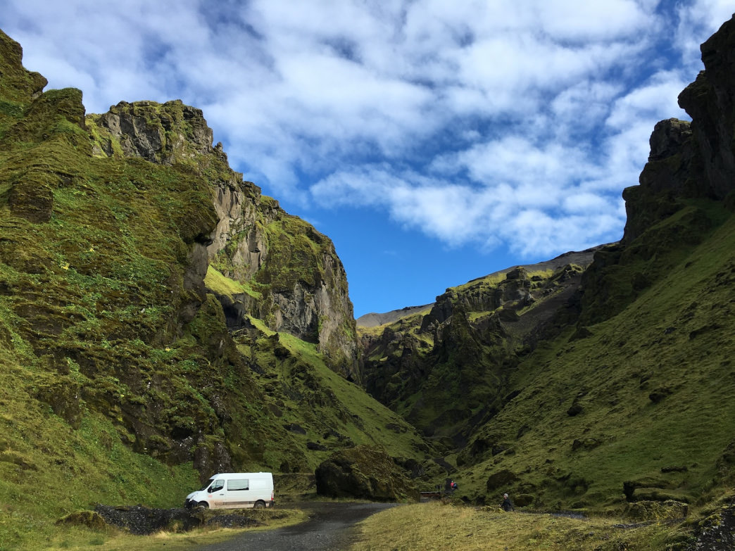 The Thakgil campsite is straight out of Middle Earth, with mossy, cave-riddled hillsides that tumble down jet-black volcanic soil outside of Vik.