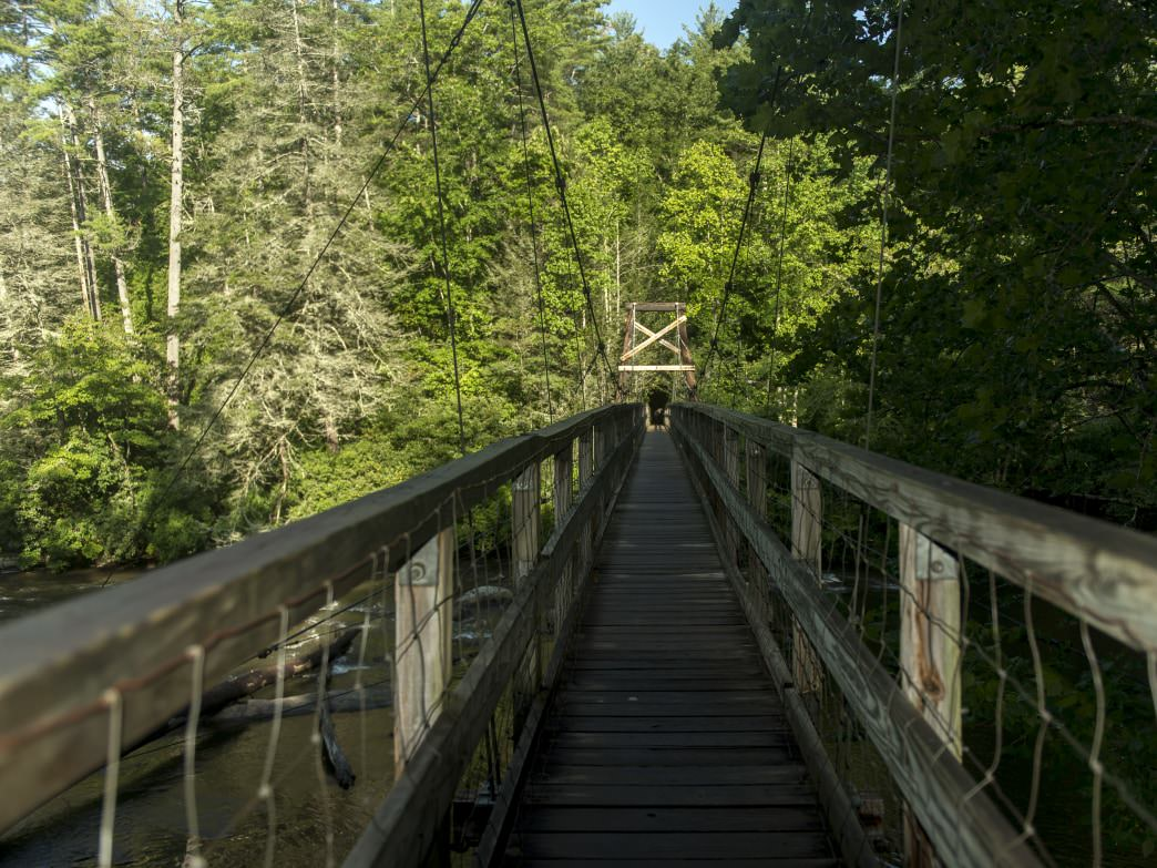 The Swinging Bridge over the Toccoa River is the longest suspension bridge East of the Mississippi.