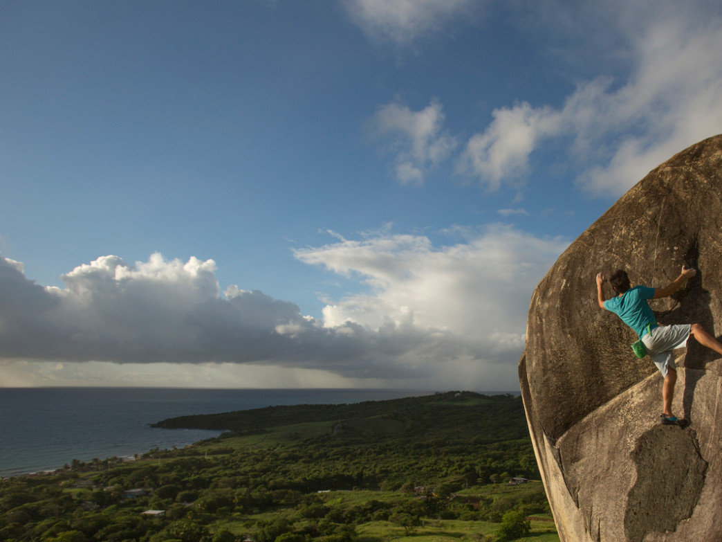 Bouldering in Yabucoa offers amazing views.
