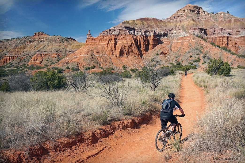 Bikers along the Lighthouse Trail of the Palo Duro Canyon State Park of Texas.