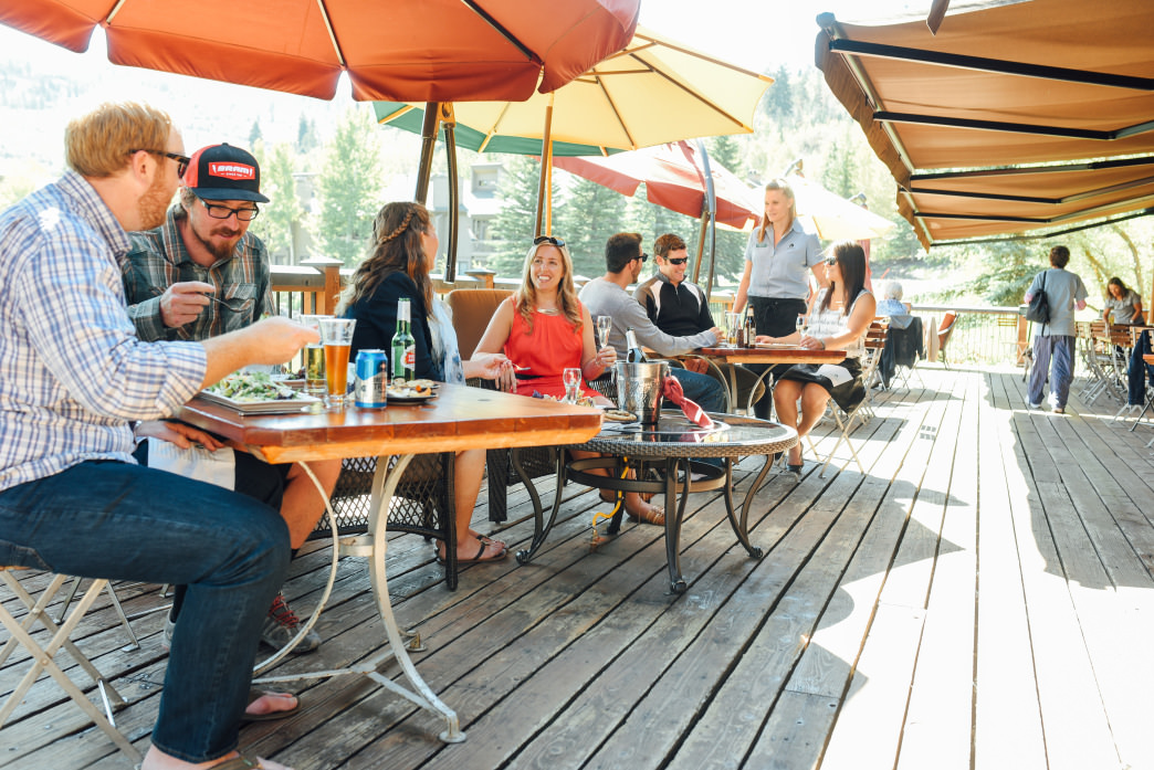 Deer Valley's Grocery Café has a wide deck overlooking a pond.
