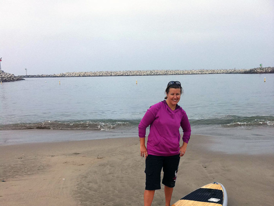 Enjoying my board in the Ventura Harbor.
