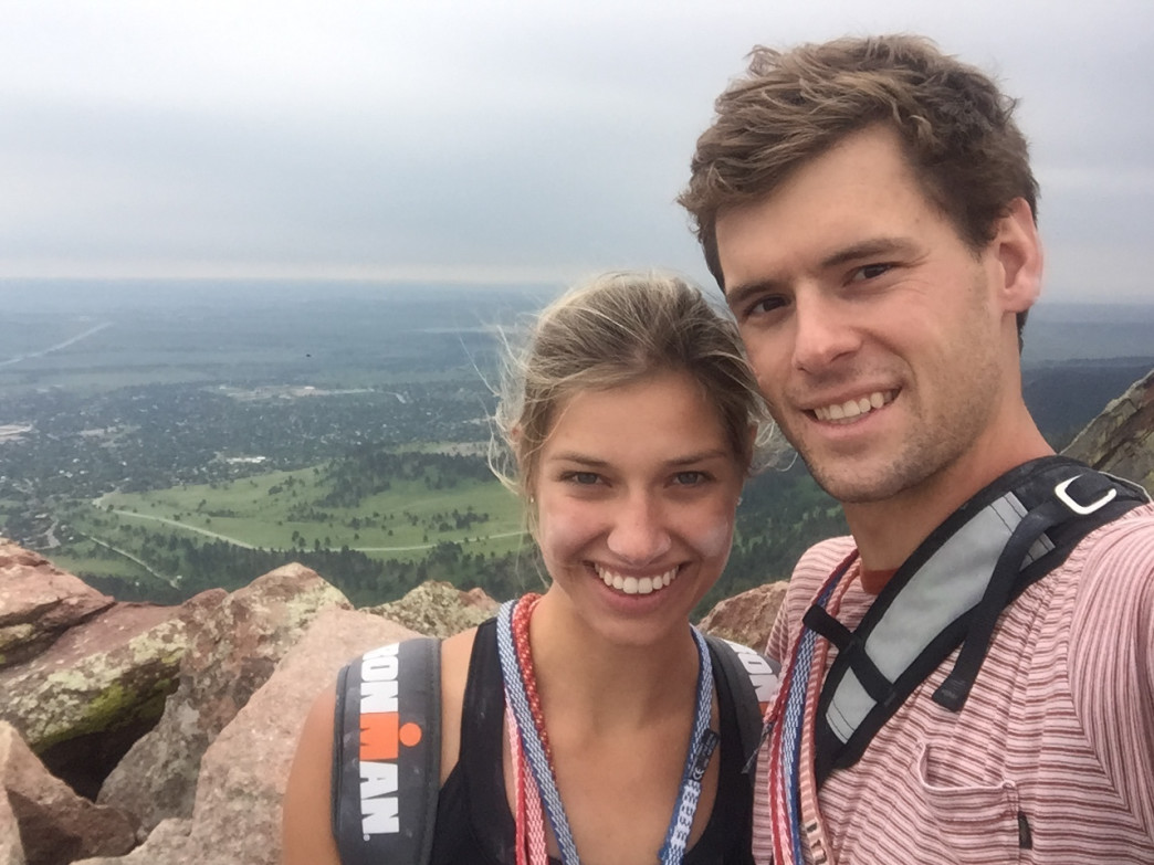 John Wigyul with his wife, Molly, after summiting their first Flatiron