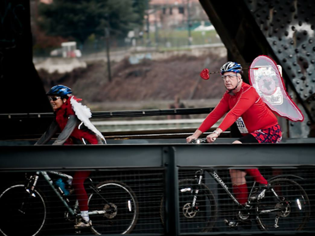The Worst Day of the Year Ride takes cyclists—many of them costumed—throughout Portland.