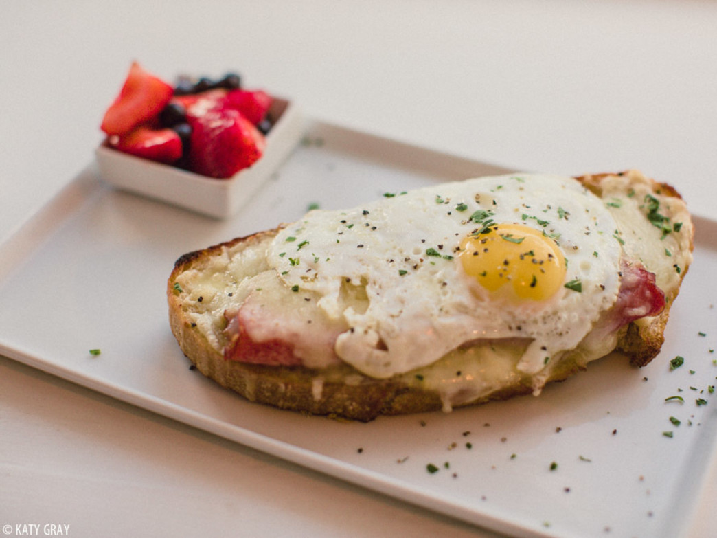 Tuck into a Croque Madame with Levain toast, organic soft egg, Berkshire ham, and gruyere cheese at Persephone Bakery.