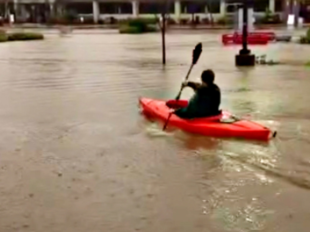 Being in a kayak certainly makes the grocery store more fun.