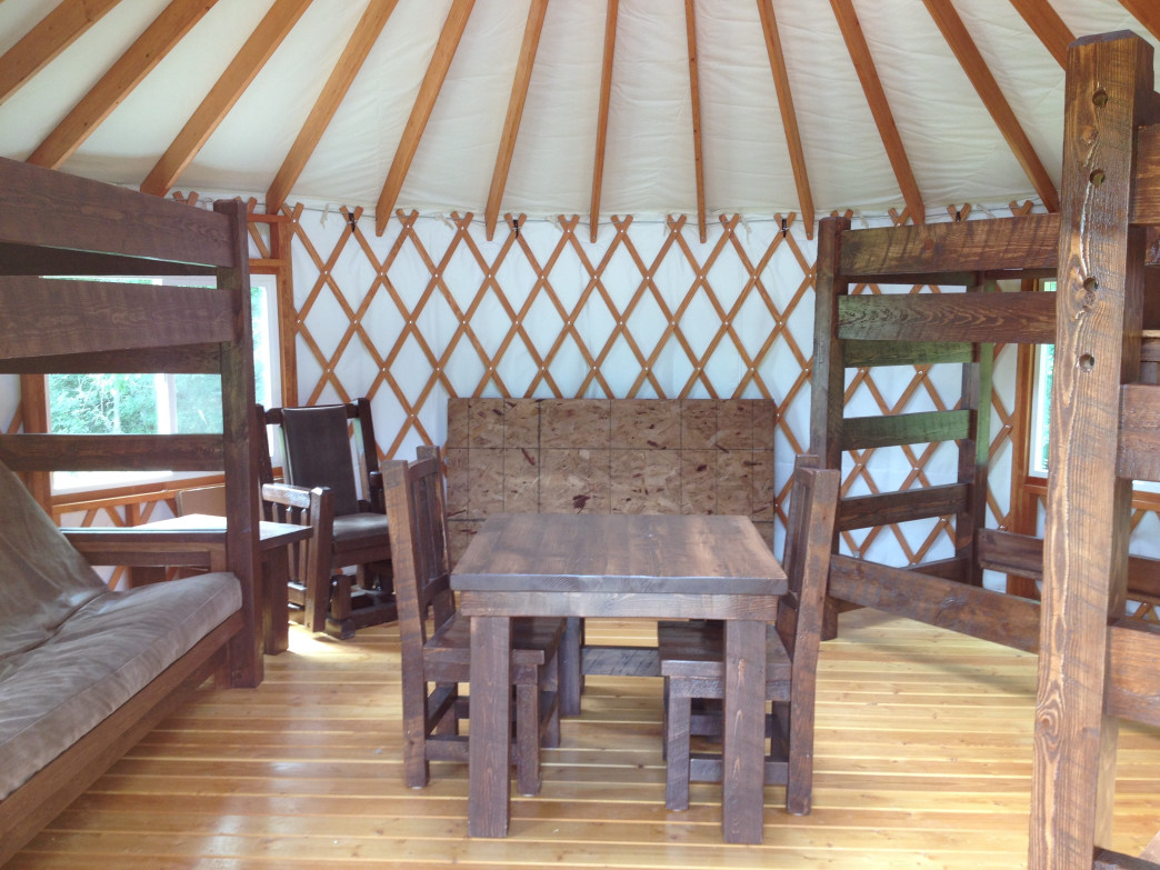 Glendalough State Park features two available yurts accessible only by hiking via the Annie Battle Lake Trail.