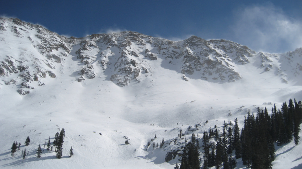 A chilly look at Arapahoe Basin's 13,000' East Wall.