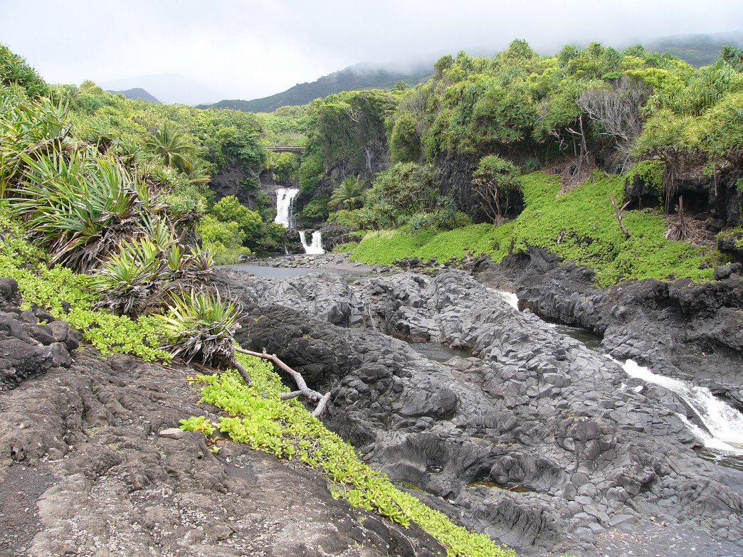 The waterfalls in Kīpahulu.