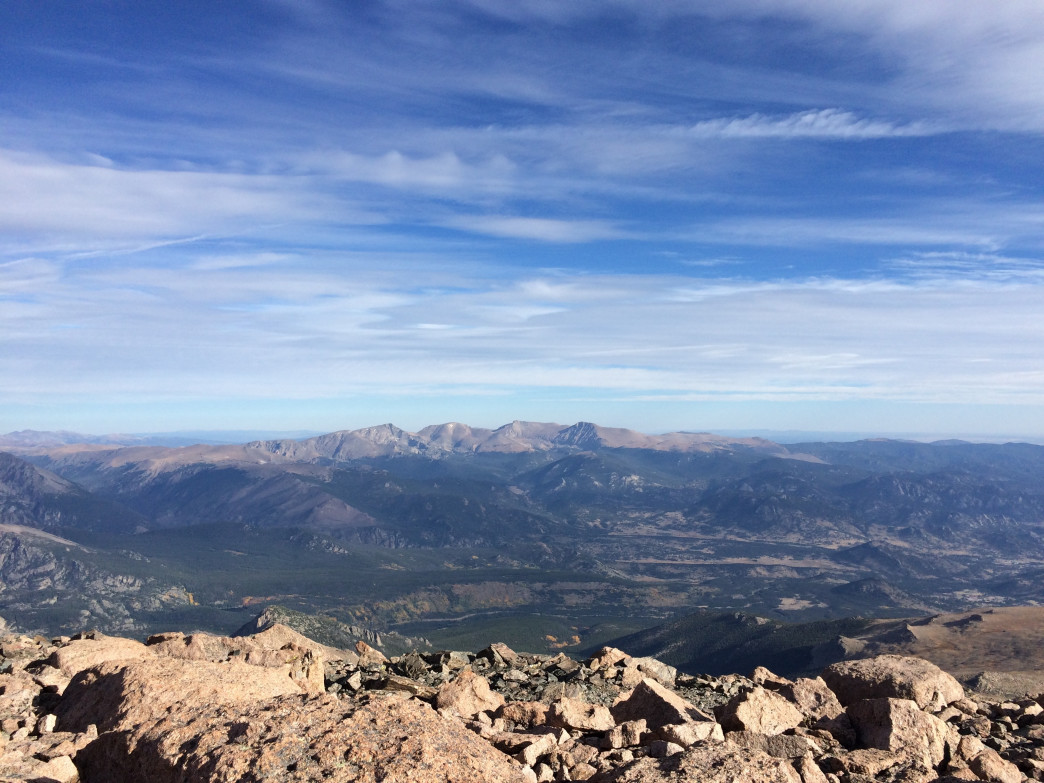 From the top of Longs, you can see down into Estes Park and beyond to peaks farther north.