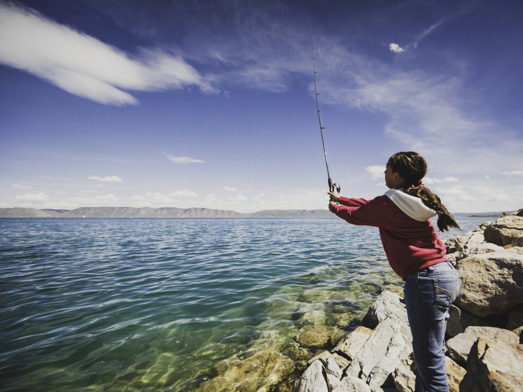 Riley Hymas fishing at Bear Lake, Utah