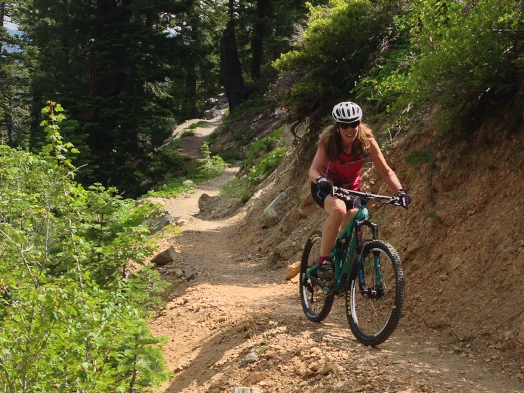 These days, Bowers loves to bomb down Tahoe trails on her mountain bike.