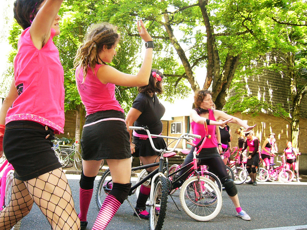 Portland's Sprockettes are an all-female mini-bike dance troupe that takes part in Pedalpalooza each year.