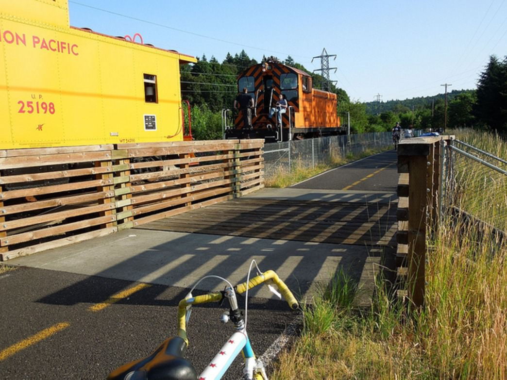 The Springwater Corridor trail is popular with cyclists for its flat grade and beautiful views along the way.