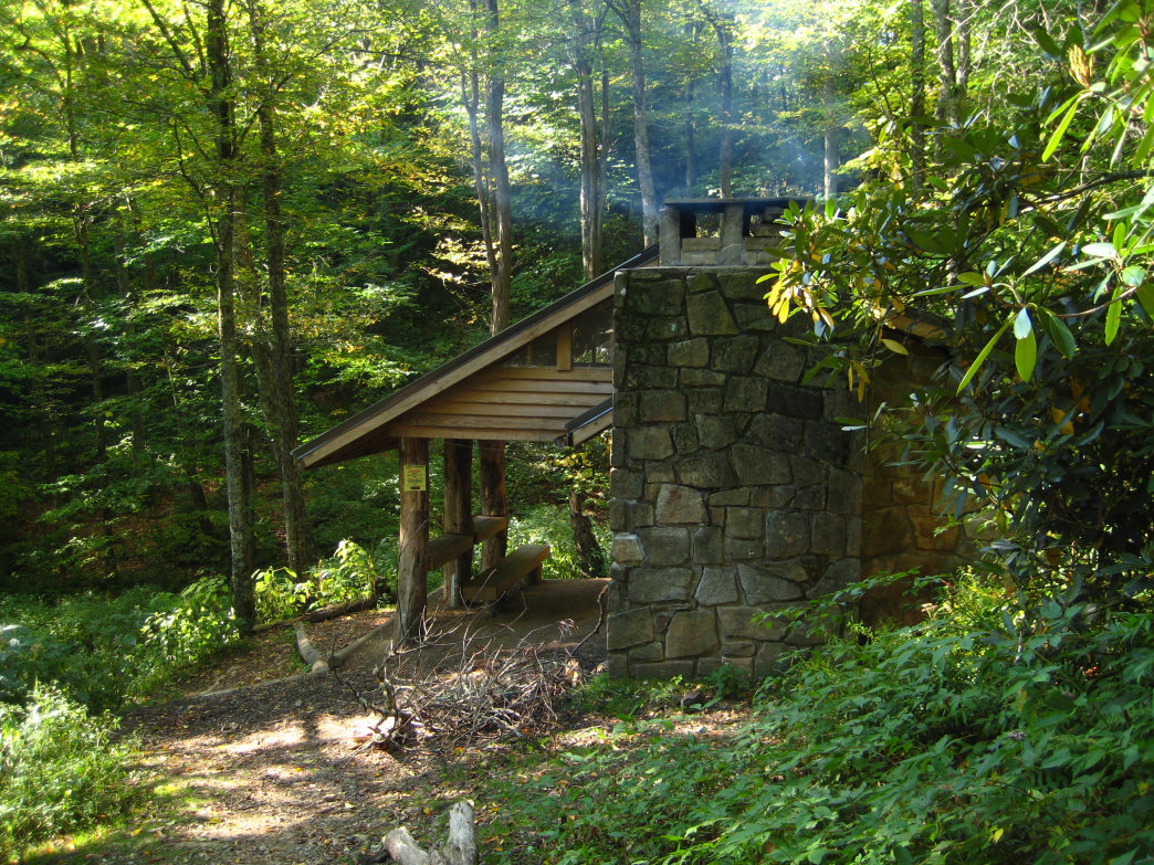 The shelter at Cosby Knob in the Smokies is a welcome sight after the long hike.