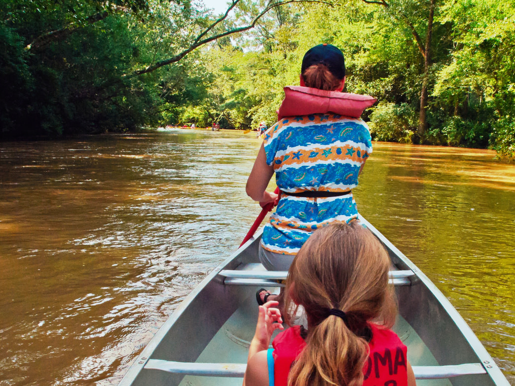 Paddling the Okatoma River, Mississippi.