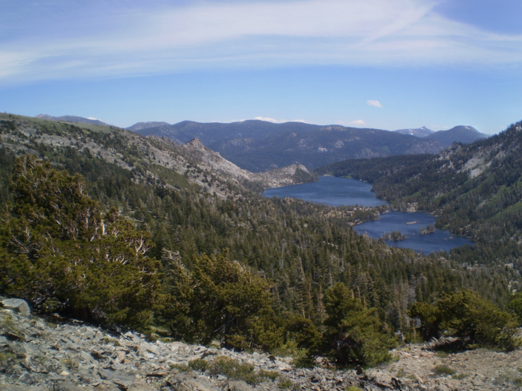Lower and Upper Echo Lakes on the left with Tamarack and Ralston Lake on the right, as seen from the Pacific Crest Trail.