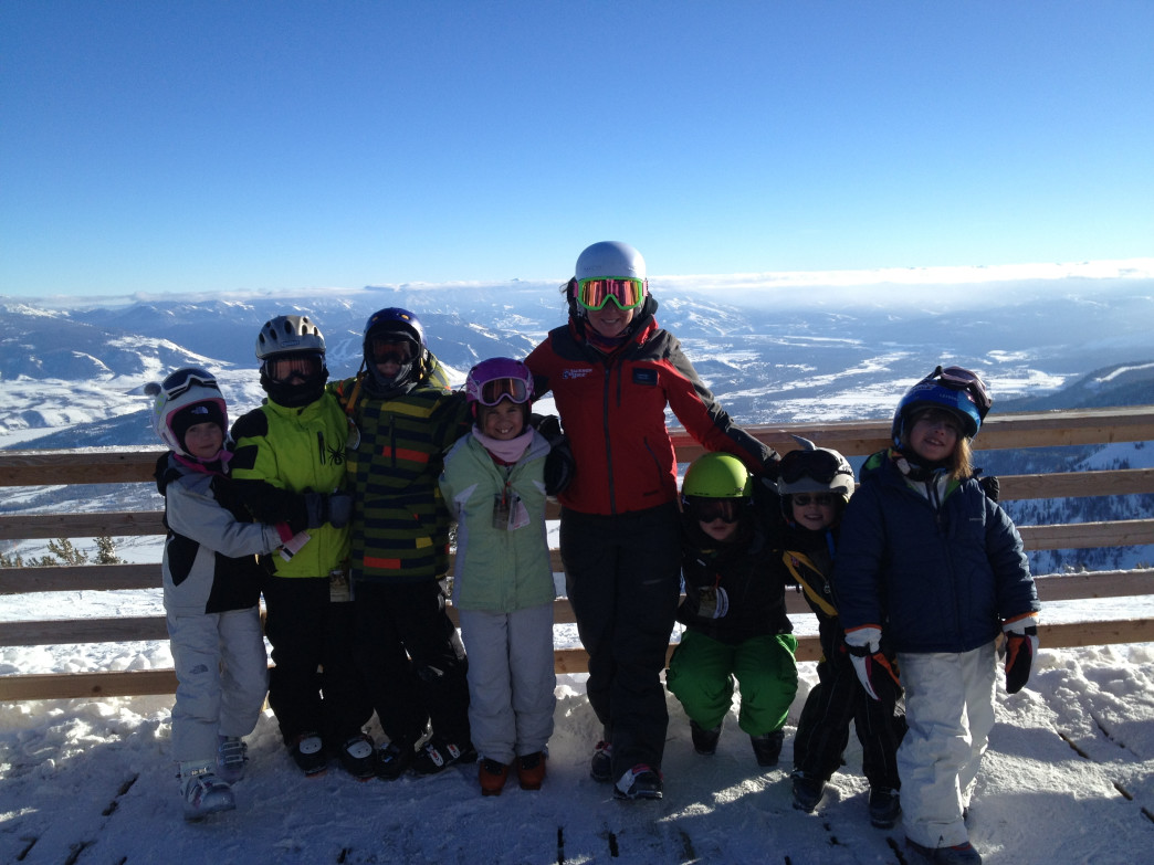 Ski instructor Laura Berger with some of her students.