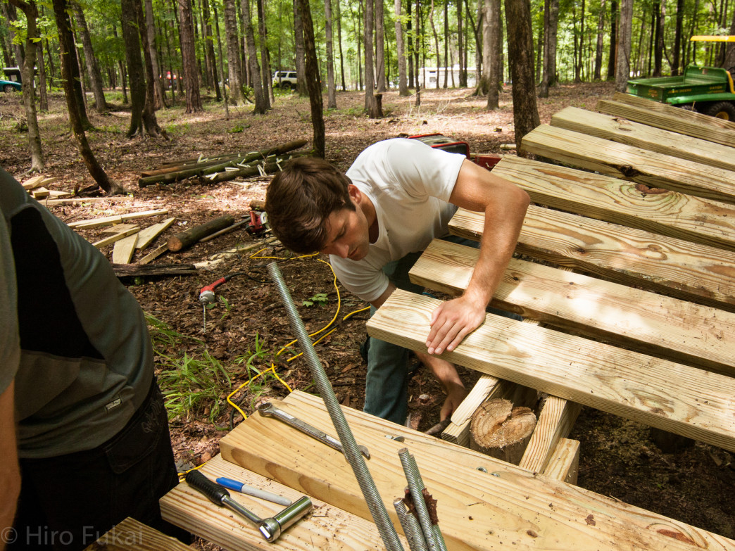 All the CAMP-built trails at Chewacla were either built complety by hand or finished by hand.