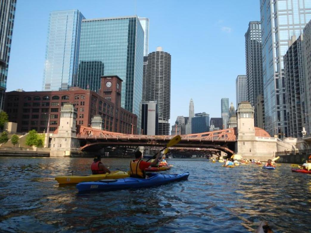 The Chicago River offers paddlers and up-close look at downtown architecture.