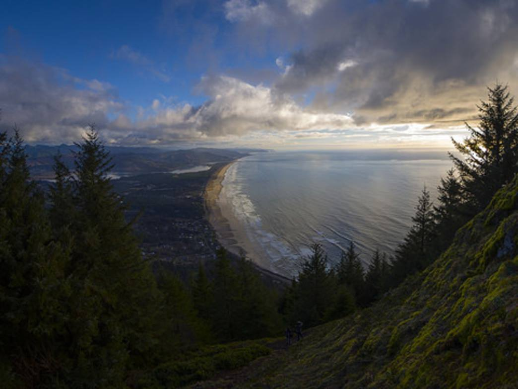 The summit of Neahkahnie Mountain provides breathtaking views of nearby Nehalem and the Pacific Ocean.