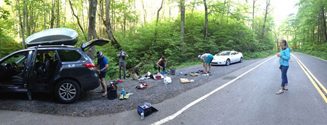 Sorting gear at the car before heading out. Photo courtesy of Chad Wykle