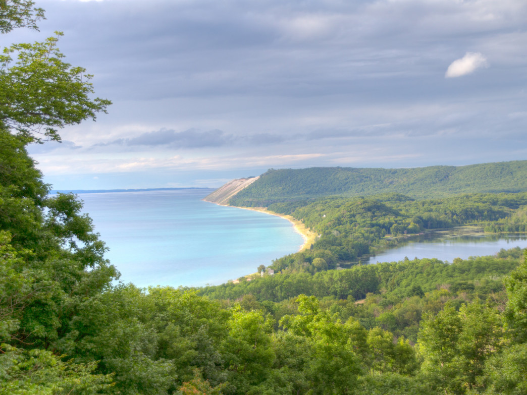 Sleeping Bear Dunes National Lakeshore from above