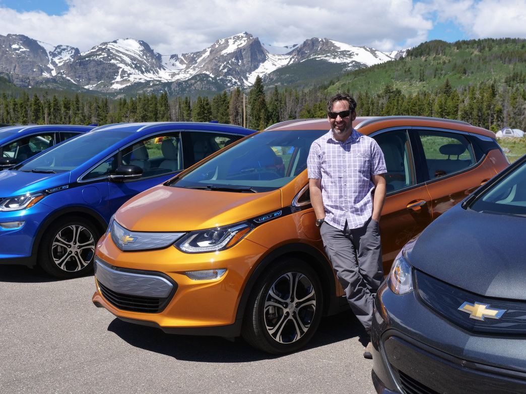 The author with the fleet of Bolts that made the road trip.      Barry Staver