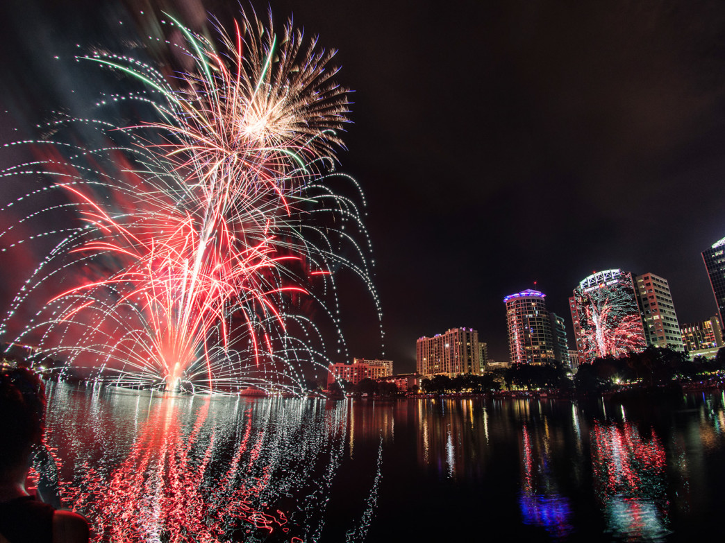 Fireworks over Lake Eola in Downtown Orlando on the Fourth of July