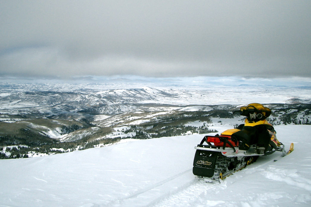 A snowmobile is a great way to explore Utah's mountains.