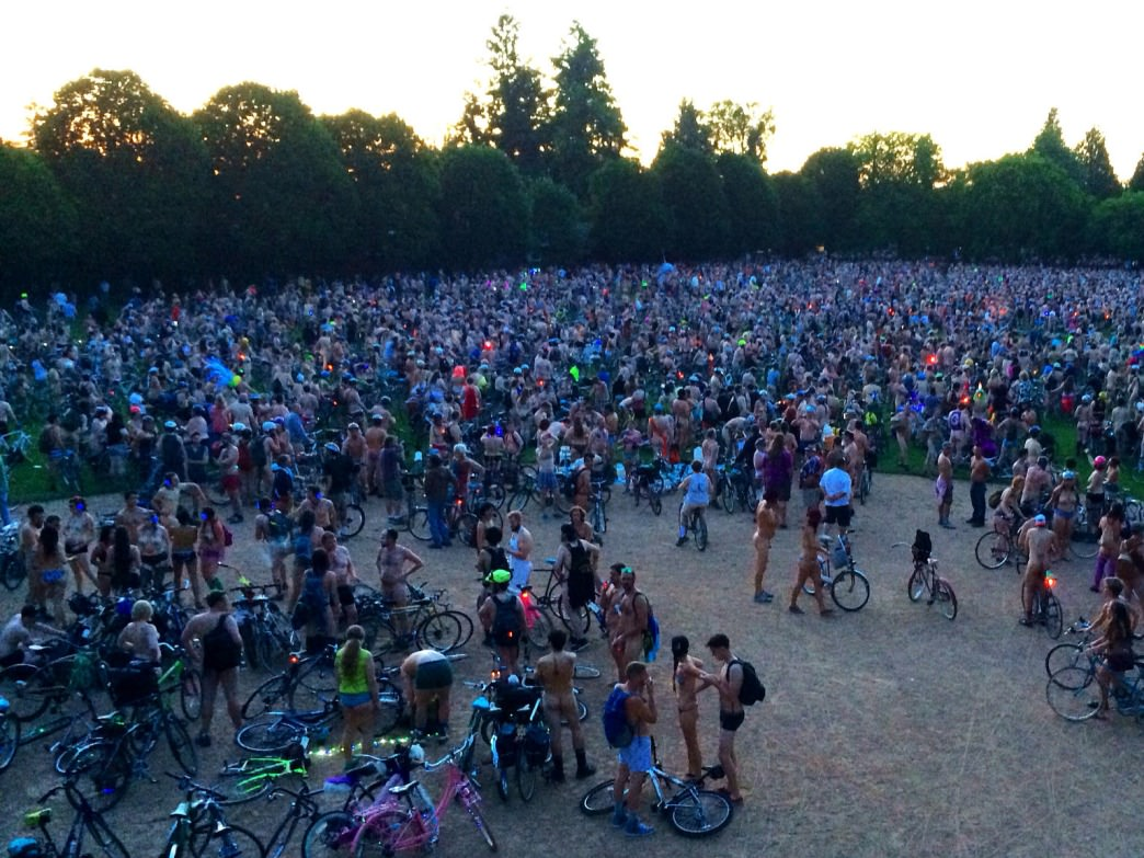 Thousands of bare-all bicyclists show up to the World Naked Bike Ride in Portland every year.