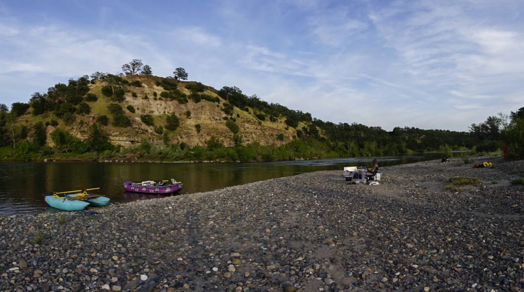 Gravel bar camping along the Sacramento River.