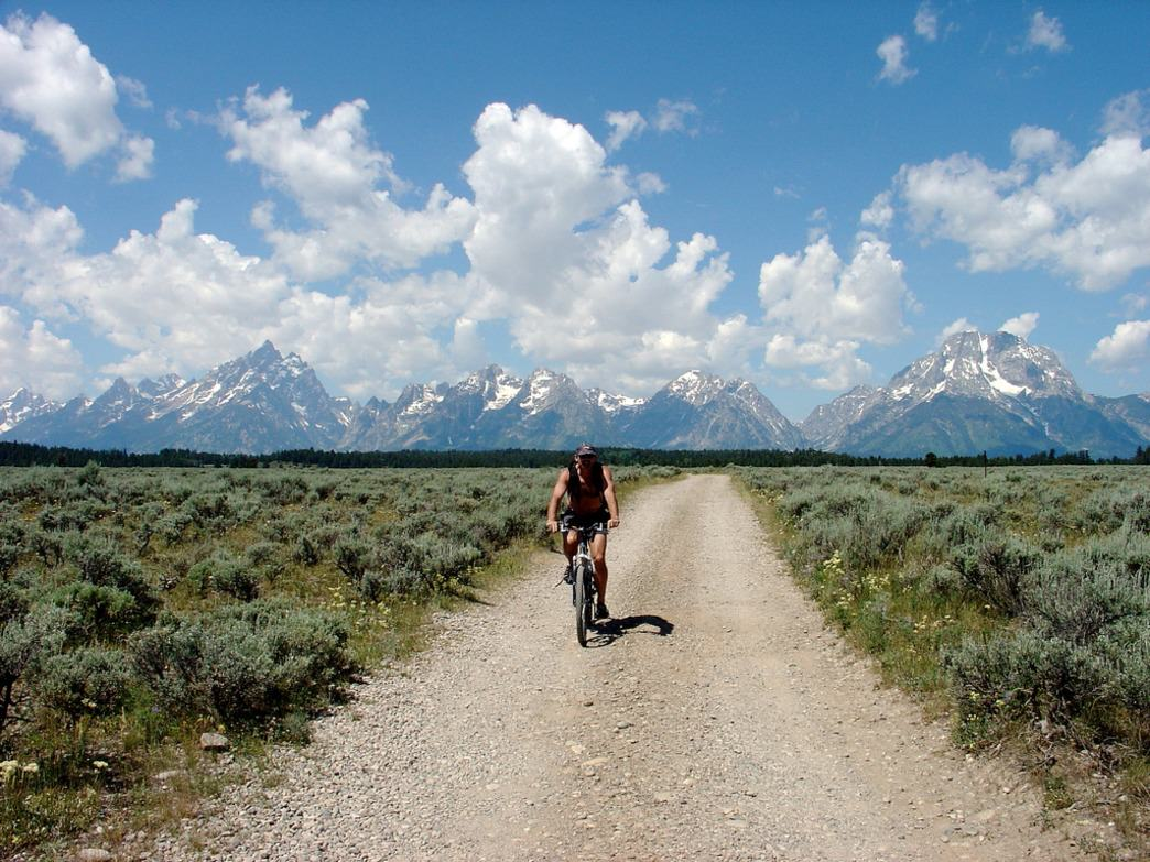 Cycling during the summer season in Grand Teton National Park