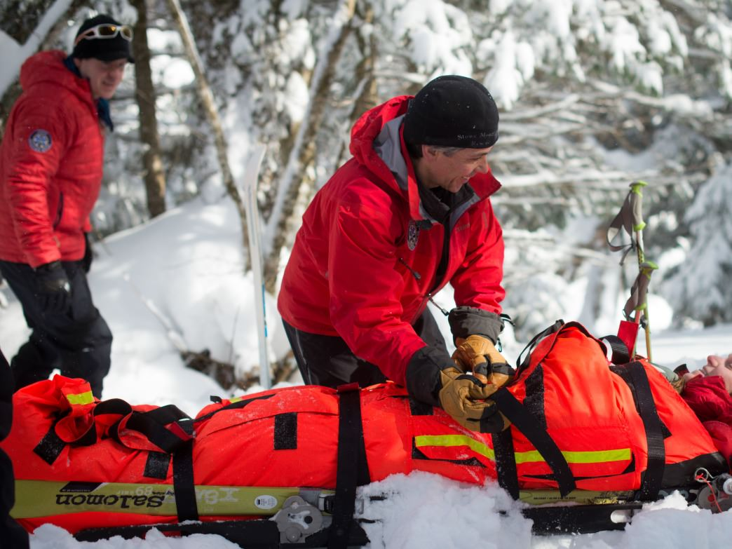 Stowe Mountain Rescue on a wintertime training run.