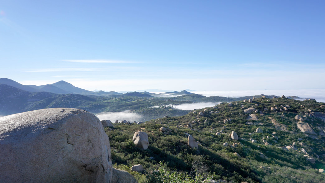 On top of Mount Woodson, all covered in boulders