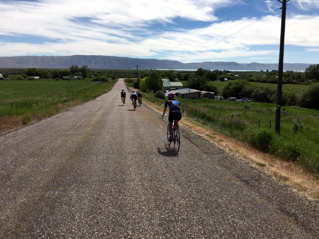 Road cycling at Bear Lake, Utah.     Thomas Cooke