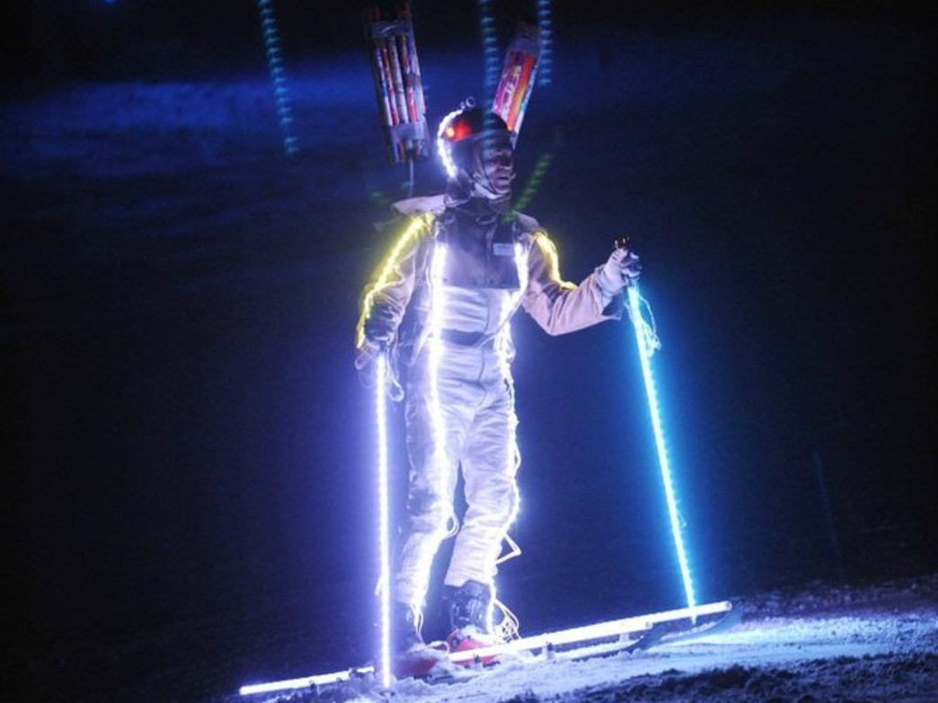 Jon Banks, a.k.a. Lighted Man, takes to Howelsen Hill during the 2013 Steamboat Winter Carnival.