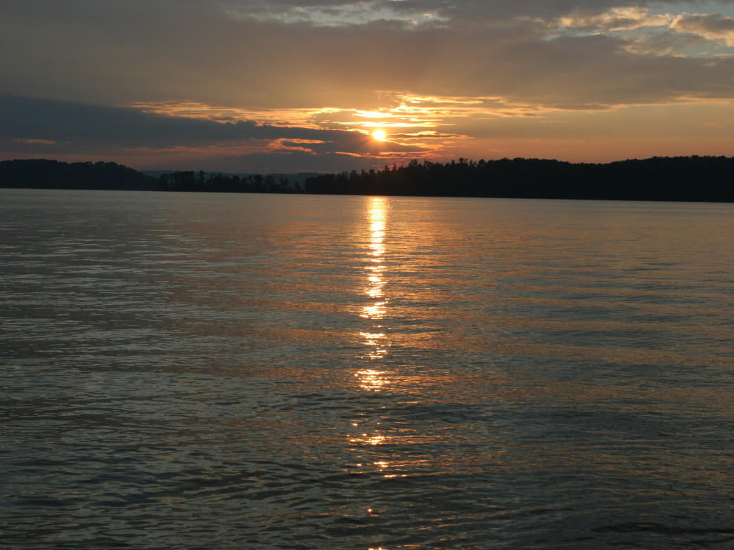 View of the lake at sunset