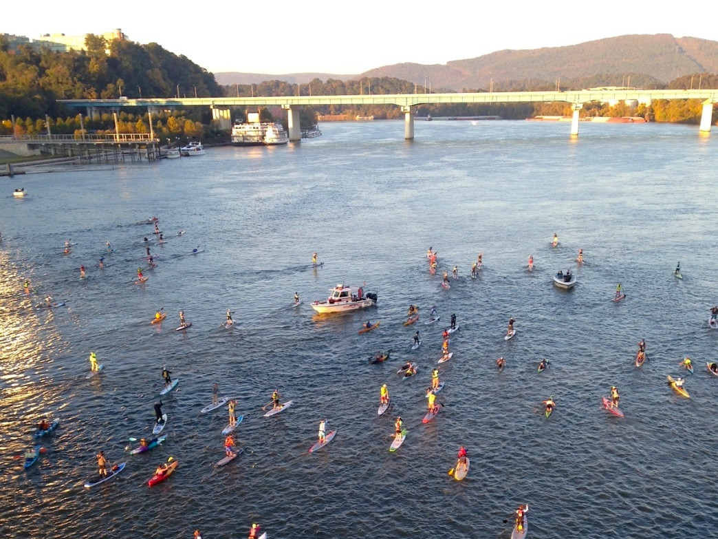 There they go! Paddlers setting off on 31 miles of enduring fun.