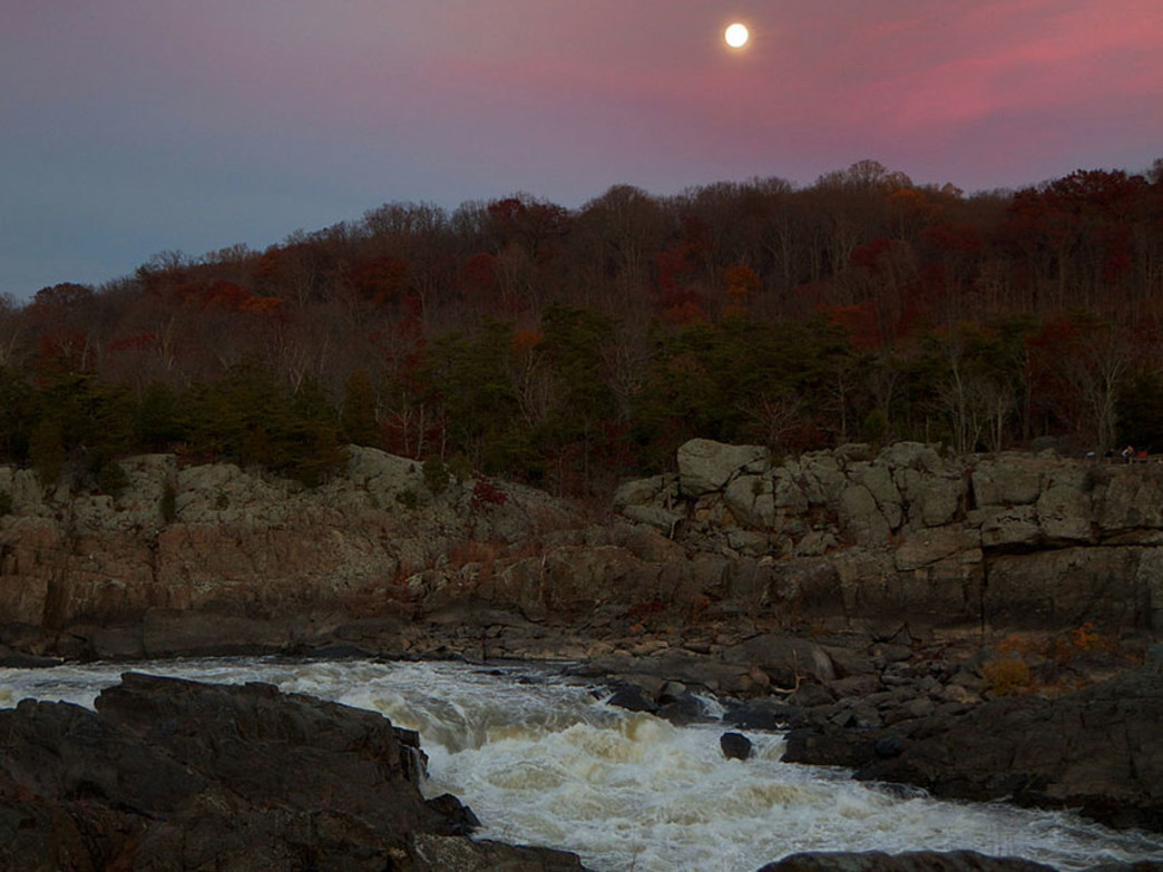 Full moon rising over the Great Falls on the Potomac River during late fall