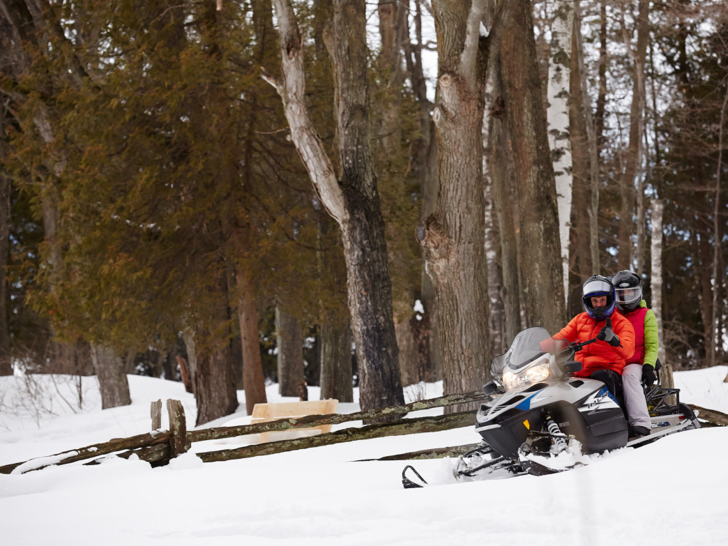 Snowmobiling in Peninsula State Park in Door County.